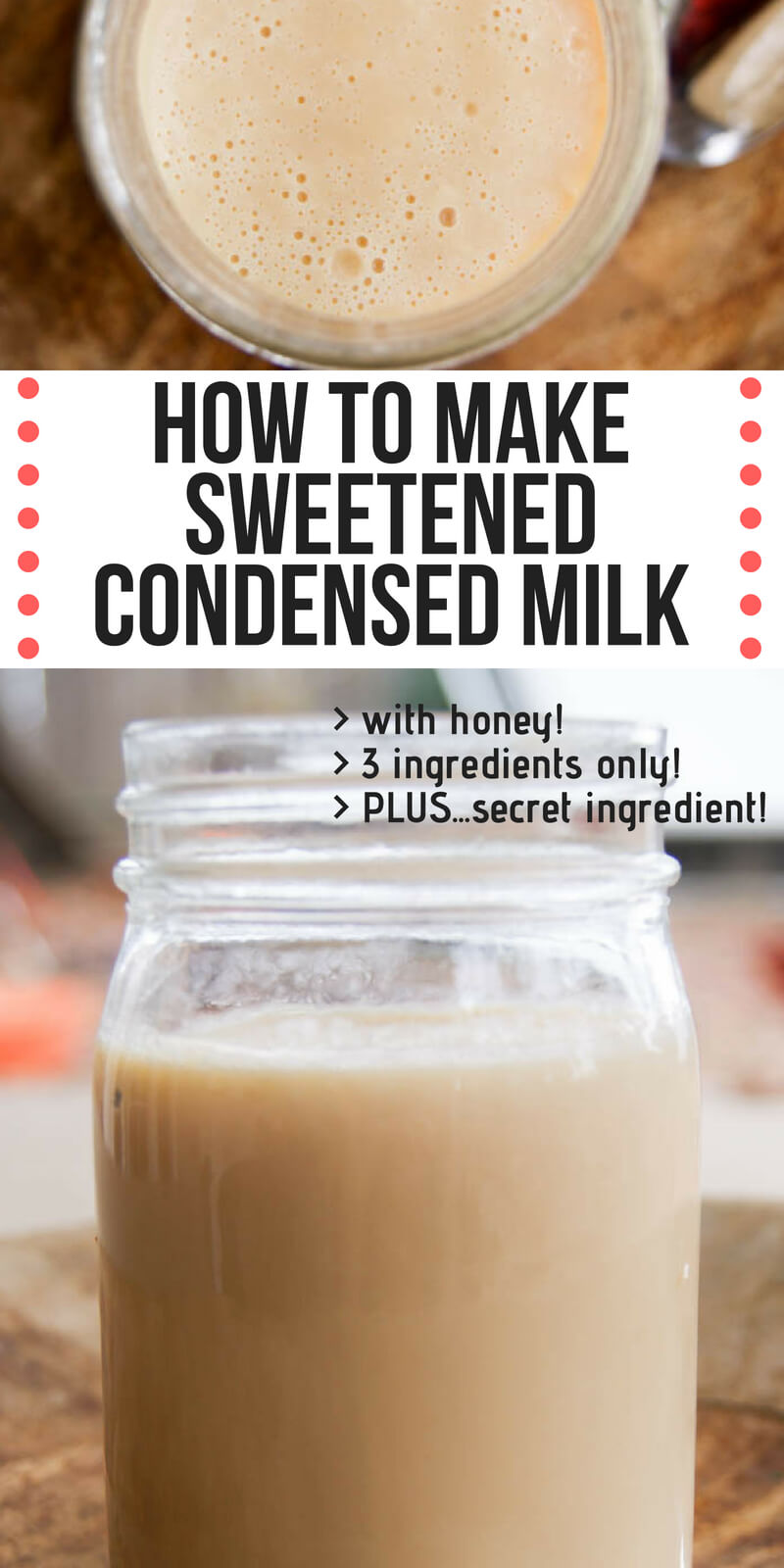 How to Make Sweetened Condensed Milk -Making your own sweetened condensed milk is as easy as blending three ingredients together in a saucepan. Read how you can swap to use natural sweeteners such as honey and coconut sugar and find out what the secret ingredient is that makes this so creamy and rich! Check out this easy 3-ingredient tutorial on how to make sweetened condensed milk! #condensedmilk #homemade
