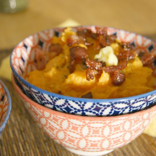 Simple Sweet Potato Mash with Bacon