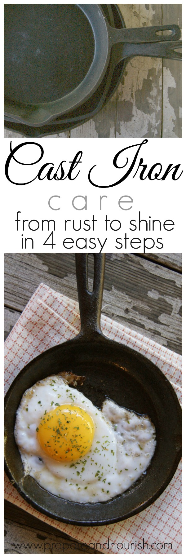 Taking care of cast iron pans will become second nature after a few uses of properly seasoned pans.