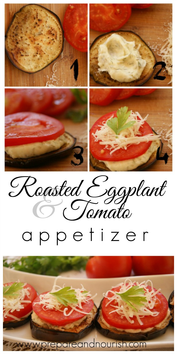 Roasted Eggplant and Tomato Appetizer with garlicky mayo center.