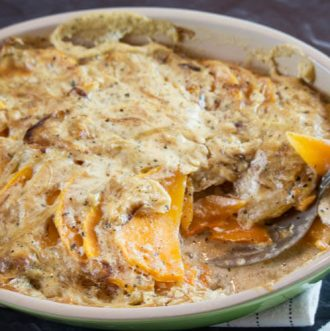 Scalloped Butternut Squash with Caramelized Onions -Thinly sliced butternut squash is enveloped in a sea of caramelized onions and garlicky cream sauce. This side dish is loaded with amazing aroma and delicious flavors. #glutenfree #realfood #holidays