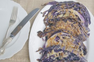 Parmesan & Garlic Roasted Purple Cabbage - great as a side dish and easy to make. Make some today!