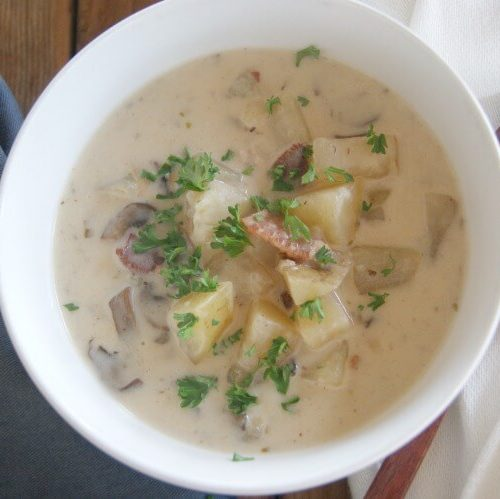 Mushroom and Bacon Potato Chowder (Gluten-Free)
