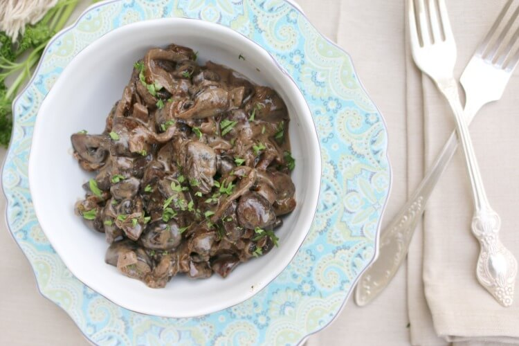 Creamed Mushrooms & Onions in Red Wine Reduction - full of flavor yet simple to make. Check out this easy recipe.