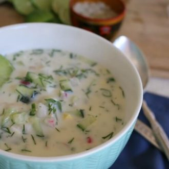 """Cold Summer Soup - Cold Summer Soup (""""Okroshka"""") - Real Food Style made with healthy seasonal ingredients in a yogurt base. Make this easy recipe today! Rich in probiotics, high protein & resistant starch."""