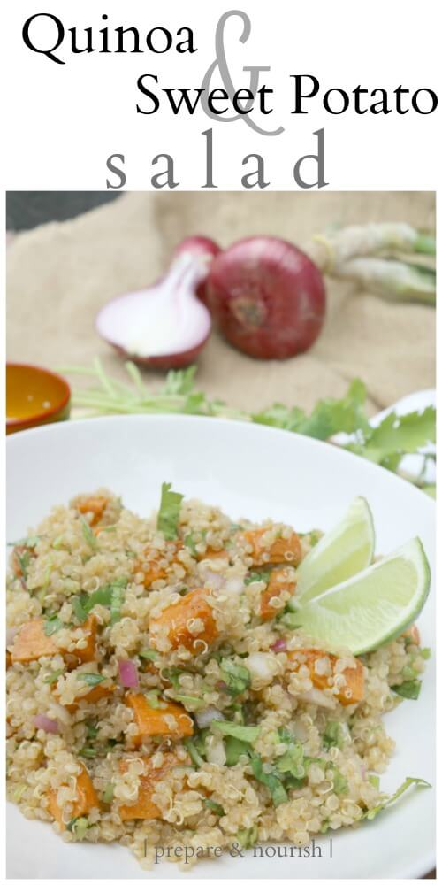 Quinoa Sweet Potato Salad - loaded with nutrition and a great salad for picnics and BBQs. Click to find this simple yet delicious recipe.