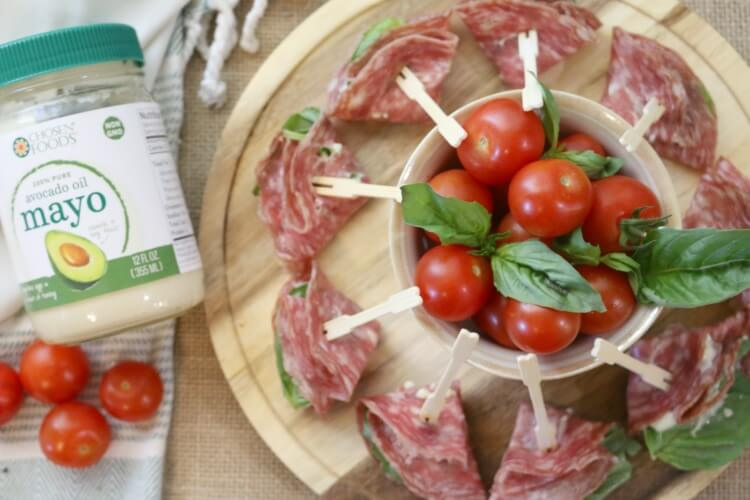 Antipasto Caprese Bites - A twist on Caprese Salad made in the form of small appetizers and wrapped in another Italian favorite, cured salami.