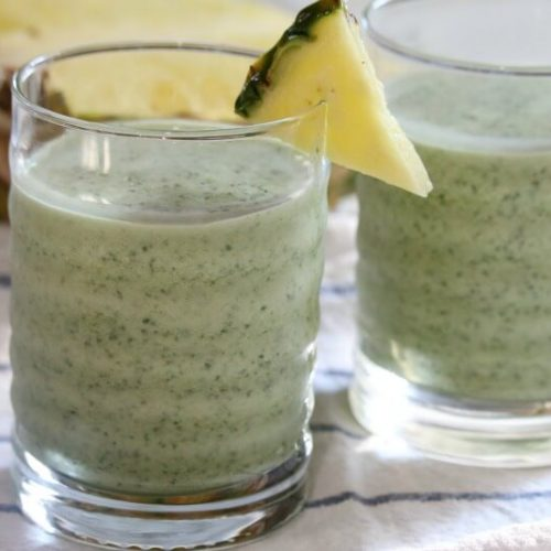 Nutrient-Dense Kale Pineapple Smoothie - Smoothies are a great way to sneak in some of those unfavorable but nutrient dense ingredients. Like cooked kale. Easy to digest and full of nutrients, this smoothie is a healthy blend of tropical and earthy tones.