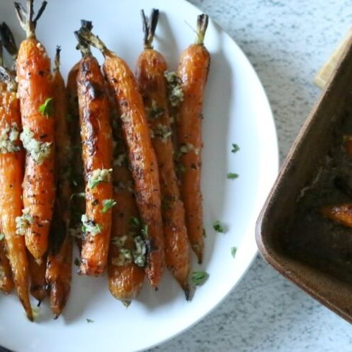 Roasted Carrots with Garlic & Basil - Oven roasted with garlic, basil, and unrefined salt. these roasted carrots make an easy and delicious side dish. gapsdiet | whole30 | paleo | aip