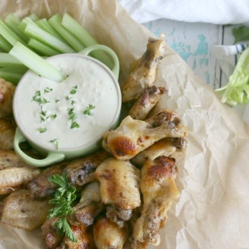 Instant Pot Buffalo Chicken Wings with Blue Cheese Dip - real food, refined sugar free and easy to make in the pressure cooker.
