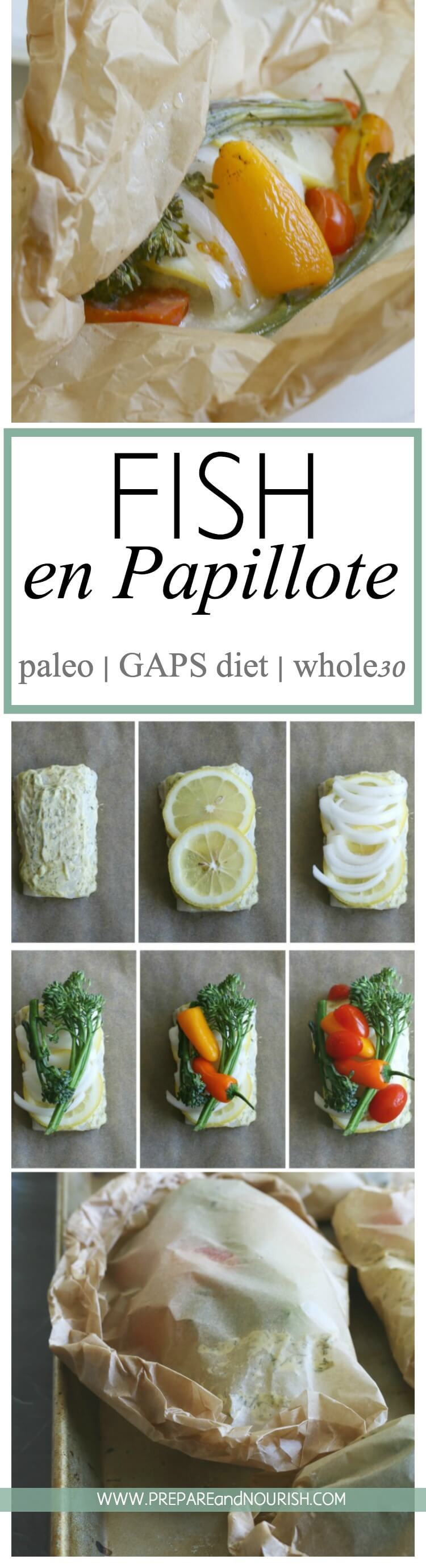 Fish en Papillote is an elegant yet simple dish where fish and veggies are wrapped in parchment paper and cooked together until delicious perfection. Paleo | GAPS | Whole30