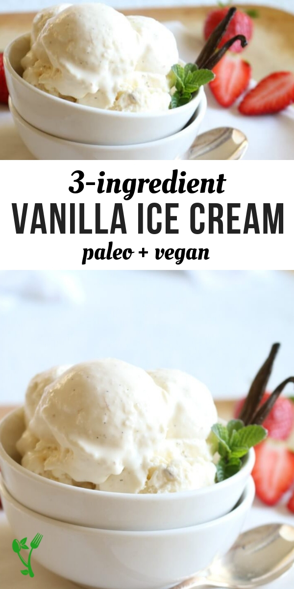 3 Ingredient Paleo Vanilla Ice Cream -Paleo Vanilla Bean Ice Cream is made from 3 healthy ingredients and can be served soft serve or traditional. This Paleo treat is healthy and delicious the entire family can enjoy. #paleo #vegan