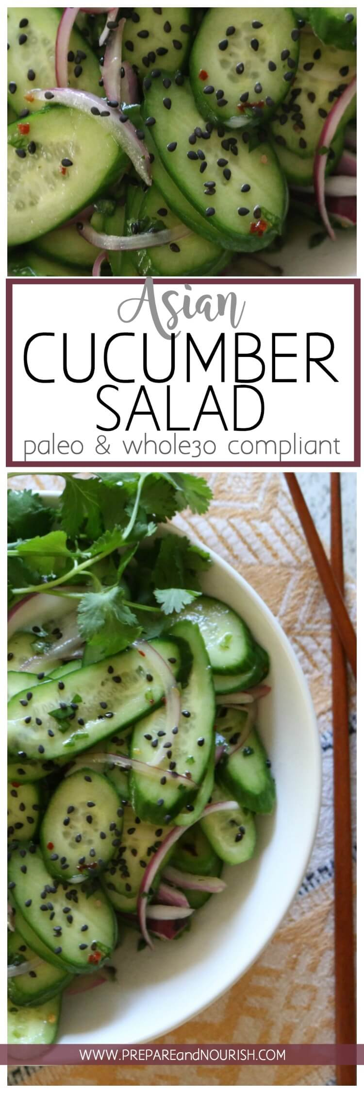 Asian Cucumber Salad - Thinly sliced cucumbers and red onions tossed with a white wine vinaigrette dressing makes a light and refreshing salad. Top with rich black sesame seeds for major flavor action. #paleo #whole30