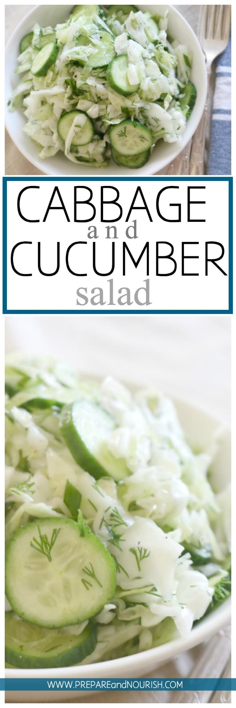 Low Carb Cabbage and Cucumber Salad - This cabbage salad is seriously loaded with crunch, zest and deliciousness. Made with simple ingredients and has a longer shelf life than most salads, this salad is a fun party food. #paleo #partysalad #keto