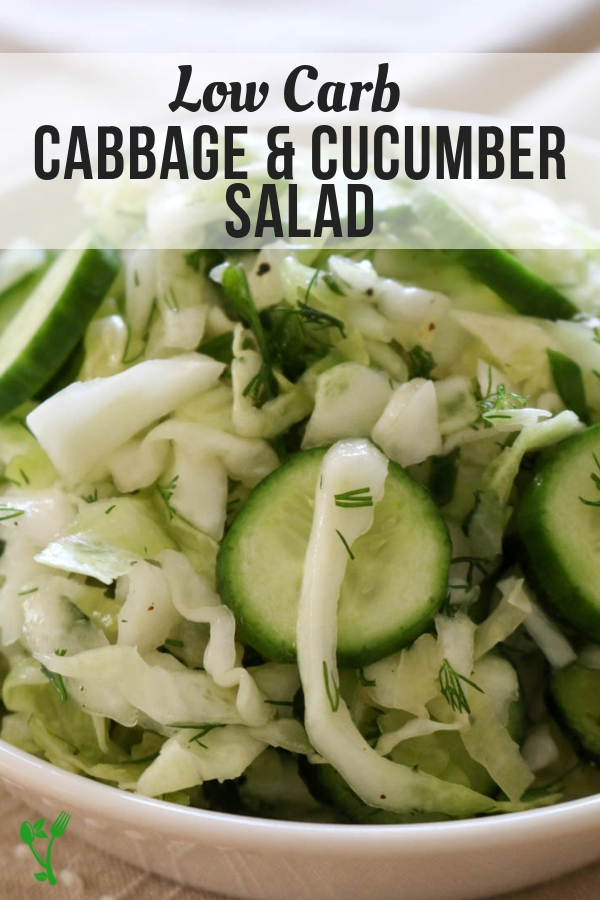 Low Carb Cucumber & Cabbage Salad - Made with simple ingredients and has a longer shelf life than most salads, this salad is delicious, easy to make, and Paleo, Whole30, and Keto friendly. #whole30 #ketosalad