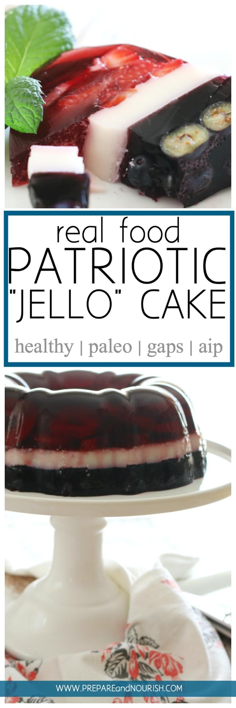 "Real Food ""Jello"" cake has berry filled with berries, real juice, and gut-healing gelatin. #paleo #aip #GAPS"