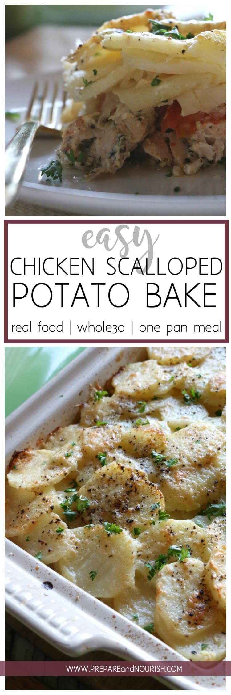 5 Ingredient Easy Chicken Scalloped Potato Bake - easy and complete dinner in one pan and baked to perfection! #whole30 #onepan