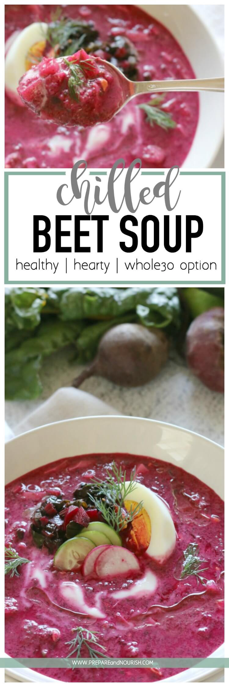 Chilled Beet Soup - This Chilled Beet Soup is refreshing with earthy undertones and delicious flavors. Make it Whole30 by keeping it dairy free with coconut cream.