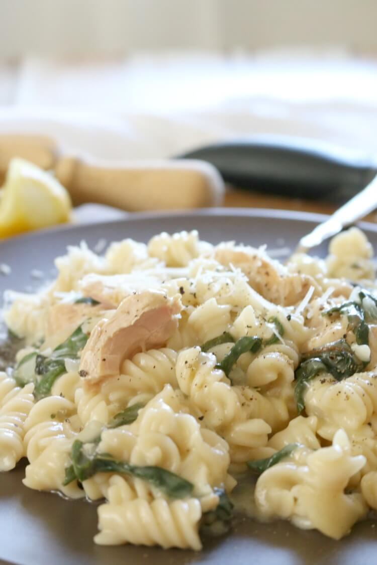 One Pot Creamy Greens & Tuna Pasta -Conveniently made in one pan, this 30-minute Creamy Tuna Pasta is loaded with flavor from lemon, parmesan, Swiss Chard and of course canned wild tuna.