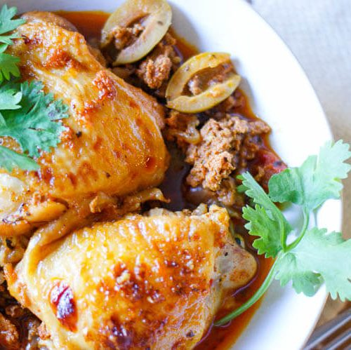 Instant Pot Citrus-Herb Basque Chicken is full of bold flavors from spicy chorizo, fragrant thyme, sweet orange juice and briny olives and sun-dried tomatoes. Enjoy with roasted vegetables or a bowl of rice.