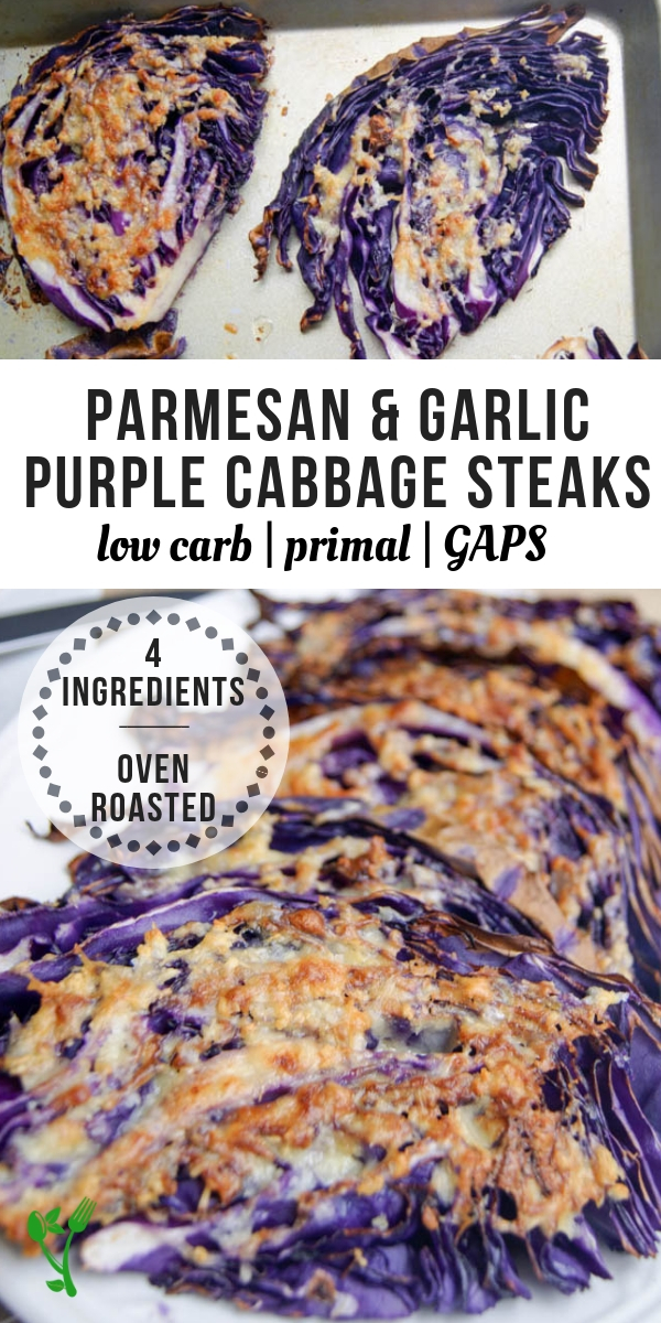 Low Carb & Keto Purple Cabbage Steaks - With only four ingredients, this primal, keto, low-carb and GAPS side dish is always a winner. It's also budget friendly and simple to throw together for a last minute addition. #keto #healthyside