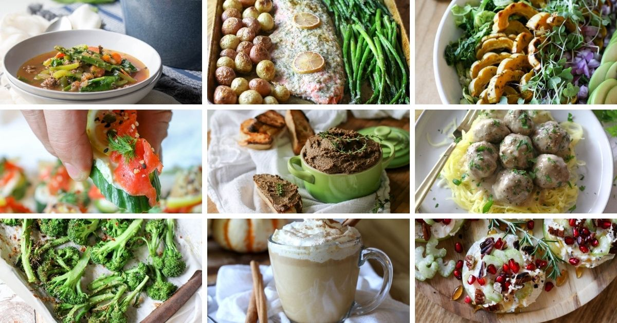 Collage of healthy holiday recipes.