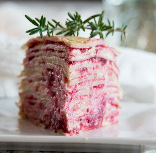 Paleo Crêpe Cake with Cranberries -This Paleo Crêpe Cake with Cranberries is gluten-free, dairy free and nut-free. Perfectly satisfying with graceful layers of crêpes, whipped coconut cream and maple-sweetened cranberries.#paleo #crepes #dairyfree