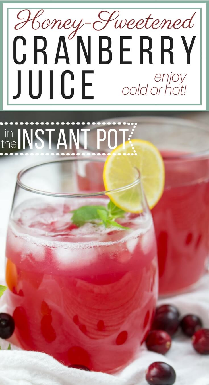 Honey-Sweetened Instant Pot Cranberry Juice (Paleo, GAPS)+ VIDEO: Slightly tart, with hints of cinnamon, this Honey-Sweetened Cranberry Juice can be enjoyed hot as a cider or iced as juice. Made easily in the electric pressure cooker, it's a festive addition to your holiday gathering. #holiday #instantpot #cranberry