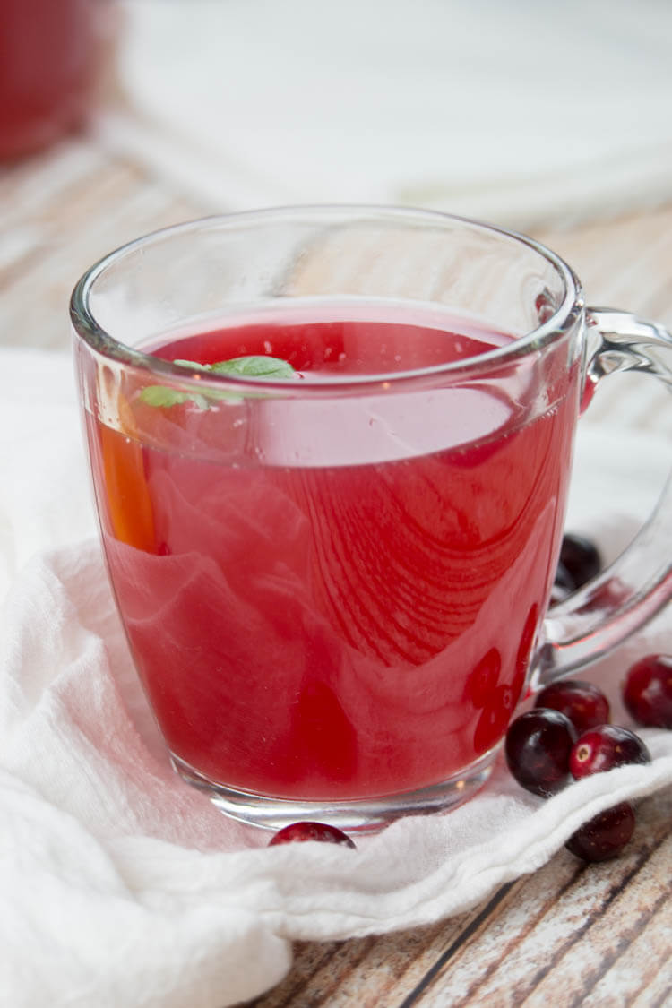 Hot cranberry cider in a mug with small mint leaf.