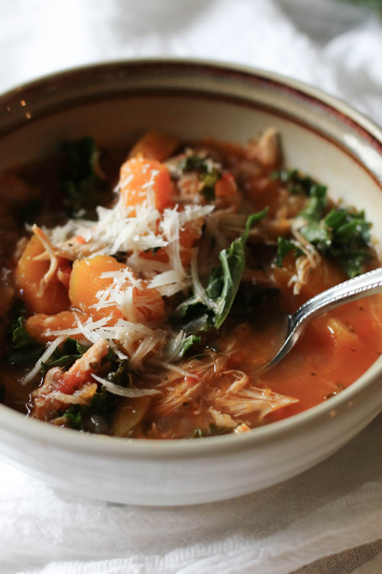 Instant Pot Tuscan Kale, Squash and Chicken Stew (Paleo, Whole30, Low-Carb) - Rich in nutrition from bone broth, low-carb vegetables and leftover roast chicken. This pressure cooker meal is a soothing, light yet hearty stew and makes a great 30-minute meal. #lowcarb #instantpot #leftoverchicken #30minutemeal #whole30