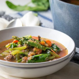 Low Carb Hamburger Soup (Keto, Paleo, Whole30) This Low Carb Hamburger Soup Recipe is hearty, nutritious and an incredibly easy one-pot meal. It's a great recipe for busy weeknights or cozy weekends. It's loaded with nutritious seasonal vegetables and is whole 30, keto, and paleo friendly.