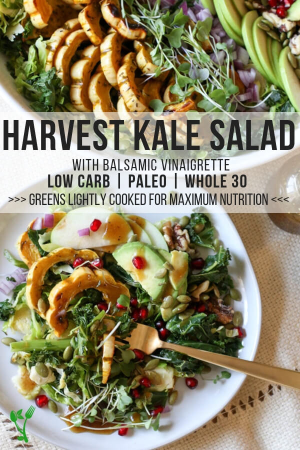 Healthy Harvest Kale Salad - This Harvest Kale Salad is Paleo, Whole30, and Low Carb. Every bite of this salad is loaded with incredible autumn flavors from nourishing kale and Brussel sprouts, delicata squash and smooth balsamic vinaigrette. #lowcarb #harvest