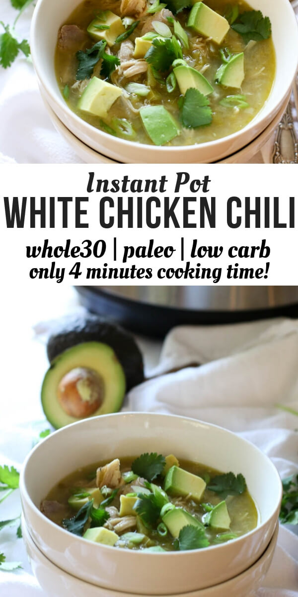 Instant Pot Whole30 White Chicken Chili (Paleo, Low-Carb, Keto) Chunky, hearty, delicious and nutritious! Warm up to a bowl of Whole30, Paleo and Keto White Chicken Chili that requires only 8 ingredients and minimal effort with the help of the Instant Pot.