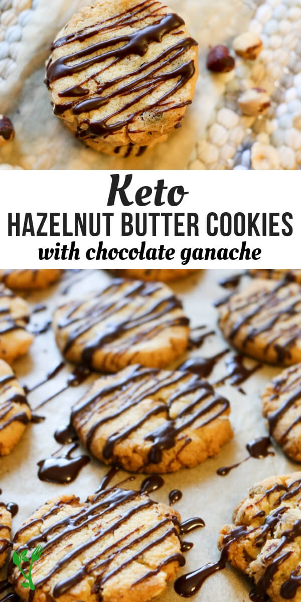 Keto Hazelnut Butter Cookies - These delicate, buttery cookies practically melt in your mouth. Roasted hazelnuts give them a nice crunch and a luscious drizzle of sugar-free chocolate takes these low carb treats over the top. #lowcarb #cookies #glutenfree