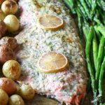 Sheet Pan Garlic Butter Salmon, Asparagus & Potatoes Sheet Pan - A complete meal on one pan - full of flavor and easy to put together. Can be customizable to fit your dietary needs for Whole30, Paleo, or Low Carb. #sheetpan #onepan #salmon