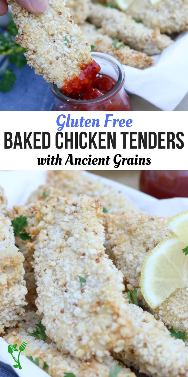 Baked Gluten Free Chicken Tenders with Ancient Grains - A comfort food made wholesome: baked, not fried and dredged in gluten free ancient grains medley of quinoa and amaranth.  Perfect for little hands and big tummies and only 5 ingredients! #glutenfree #chickentenders