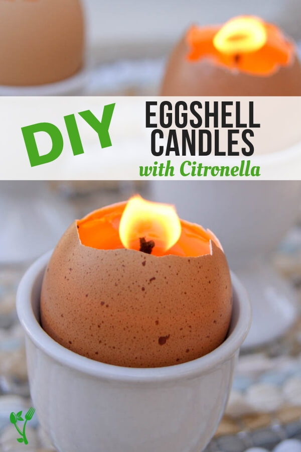 DIY Citronella Eggshell Candles -Make citronella candles in eggshells for an adorable centerpiece that will also keep the pests away. These DIY Citronella Eggshell Candles are easy and free from toxic chemicals. #diy #citronella #candles