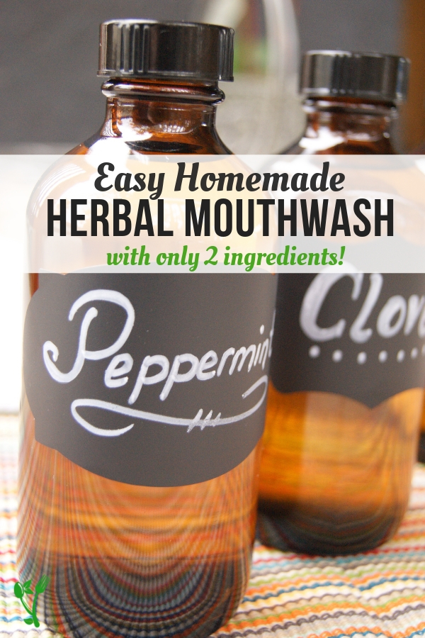 Homemade Mouthwash for Bad Breath -Check out these four different variations for the easiest DIY mouthwash made with essential oils. Great to keep oral health in top shape and to ward off bad breath. #oralhealth #DIY #mouthwash