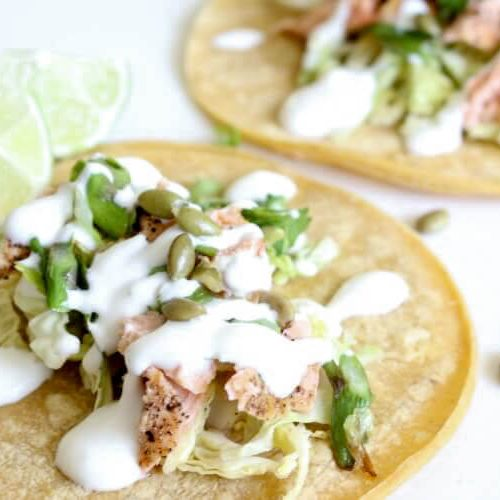 Seared Salmon Tacos (Low Carb, GAPS, Gluten Free)Seared salmon with asparagus- scallion salsa and a drizzle of lime yogurt makes these Fish Tacos amazingly delicious. Ditch the tortillas and wrap in lettuce to keep it Low Carb and GAPS compliant. #GAPS #glutenfree #fishtacos