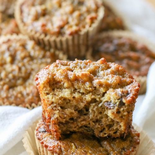 Paleo Coconut Flour Banana Bread Muffins -Made with coconut flour and are dairy free, nut free, gluten and grain free. They make a delicious, perfectly moist Paleo treat or breakfast on the go. #nutfree #bananabread