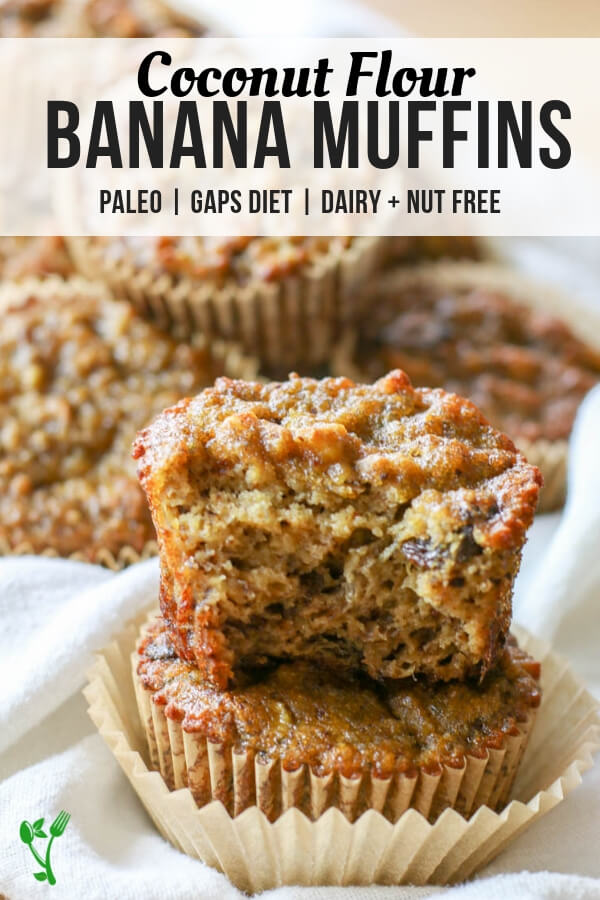Paleo Coconut Flour Banana Bread Muffins -Made with coconut flour and are dairy free, nut free, gluten and grain free. They make a delicious, perfectly moist Paleo treat or breakfast on the go. #glutenfreebananabread #paleosweets