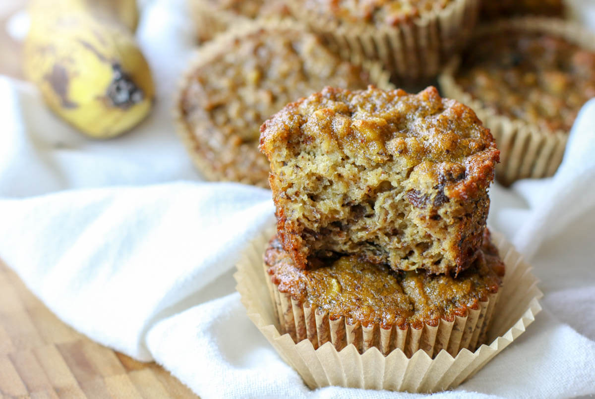 Paleo Coconut Flour Banana Bread Muffins -Made with coconut flour and are dairy free, nut free, gluten and grain free. They make a delicious, perfectly moist Paleo treat or breakfast on the go. #nutfreesweets #healthybananabread