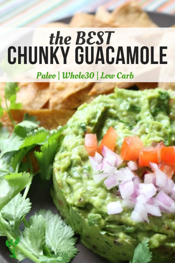 Best Chunky Guacamole - The best guacamole recipe that is full of delicious flavors and textures. This no-mayo guac can be made as smooth or as chunky as you like. It's naturally gluten free and is a great dip for Paleo, GAPS, Keto or Whole30 diets. #guac #lowcarb #paleo
