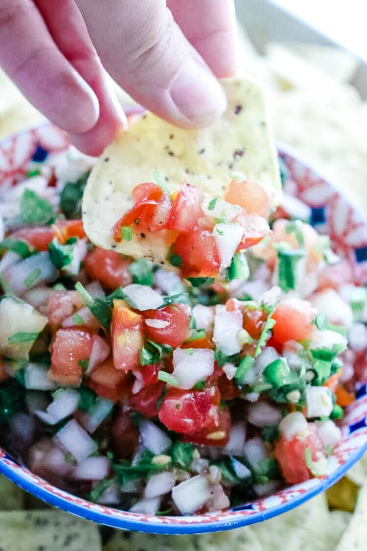 Fermented Tomato Salsa - Fermented Tomato Salsa is a tangy and gut-healing version of Pico de Gallo. With only 5 ingredients and naturally Paleo, Whole30, and Low Carb, this will be your favorite condiment all season long. #ferment #paleo