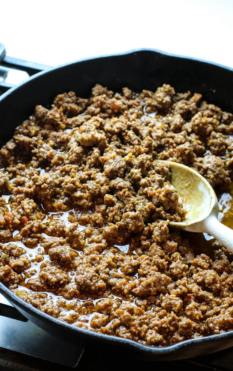 Best ground beef taco meat on skillet.