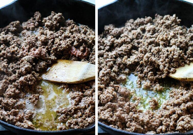 Ground beef almost cooked through with reduced grease.