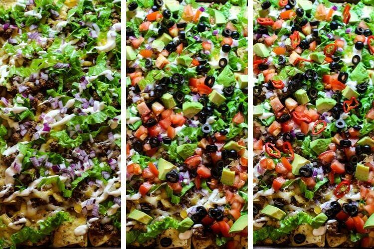 Sheet pan nachos with toppings.