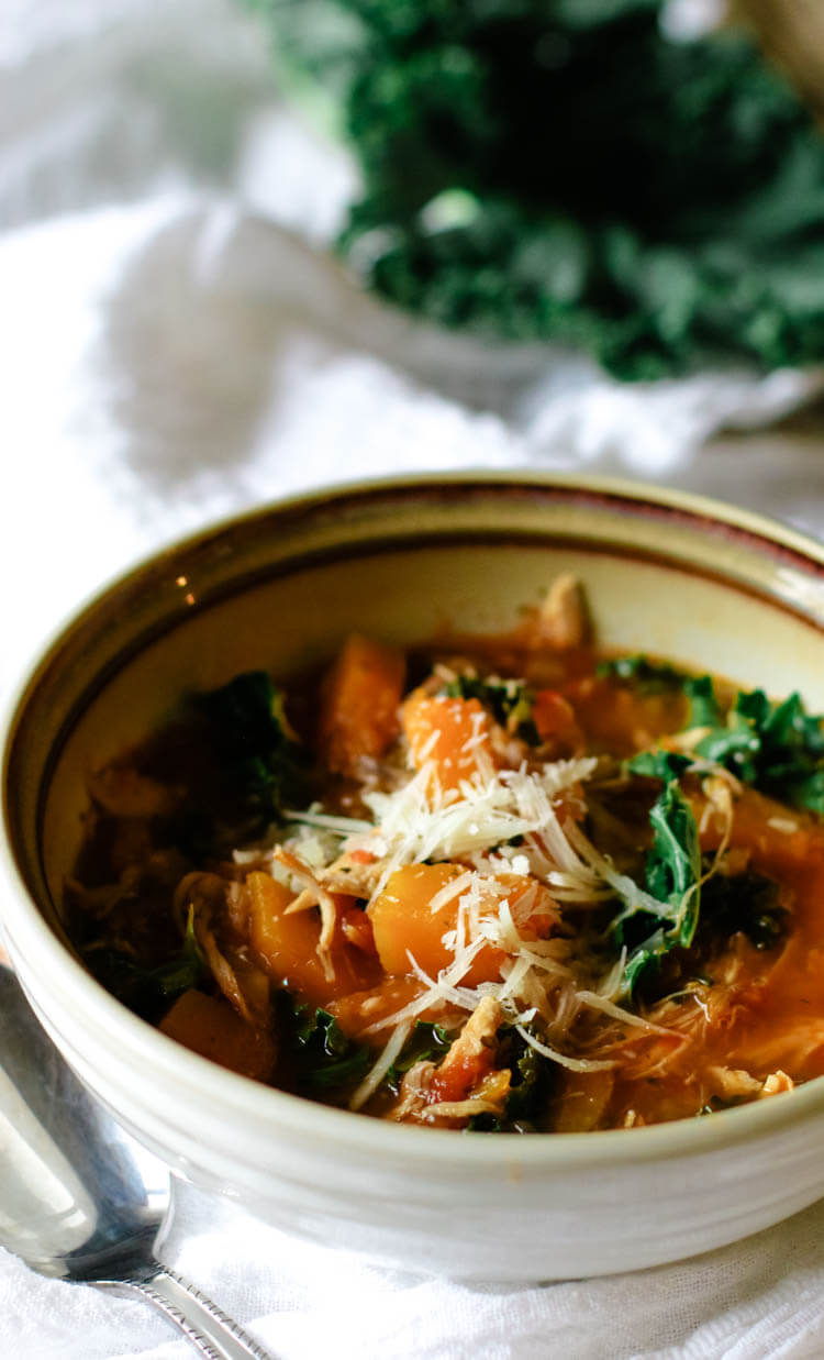 Instant Pot Tuscan Kale, Squash & Chicken Soup (Low Carb, Paleo, Whole30) - Tuscan Kale, Squash and Chicken Soup is rich in nutrition from bone broth, low-carb vegetables, and leftover roast chicken. This Instant Pot meal is a soothing, light yet hearty soup and makes a great 30-minute meal. #30minutemeal #whole30 #instantpot