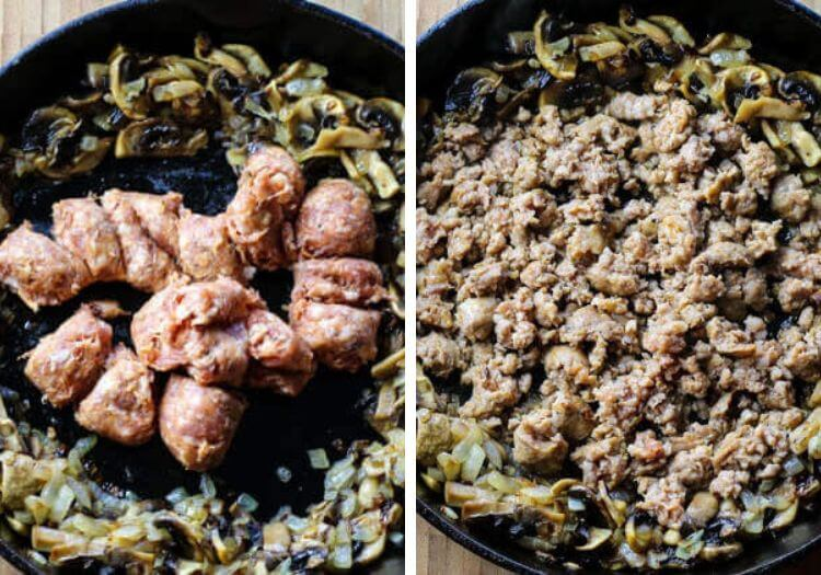 Mushrooms and onions sauteed and sausage in center of cast iron skillet.