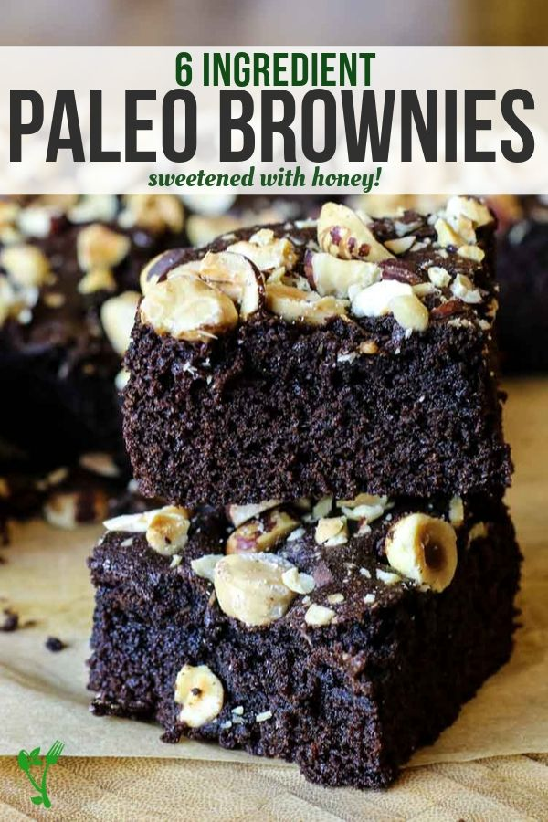 Paleo Coconut Flour Brownies made with only 6 ingredients on an image of brownies with nuts.